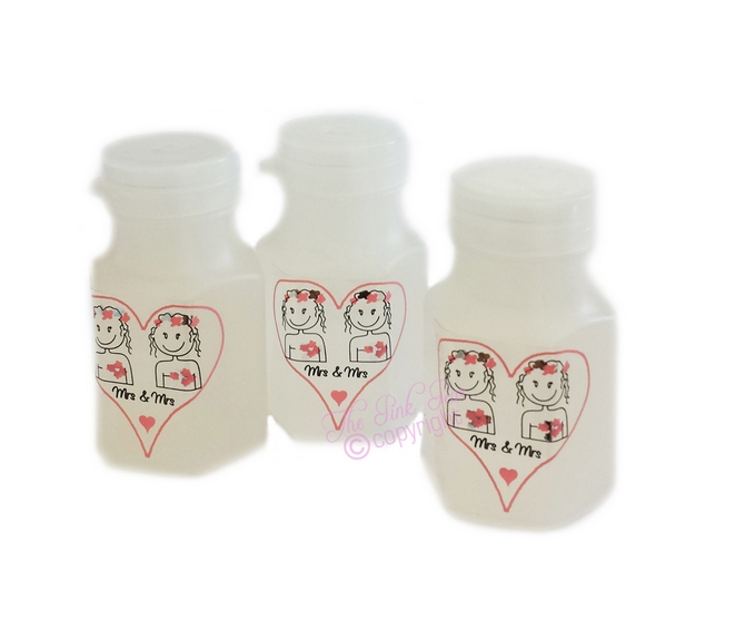 mrs & mrs cartoon brides bubbles (3 bottles)
