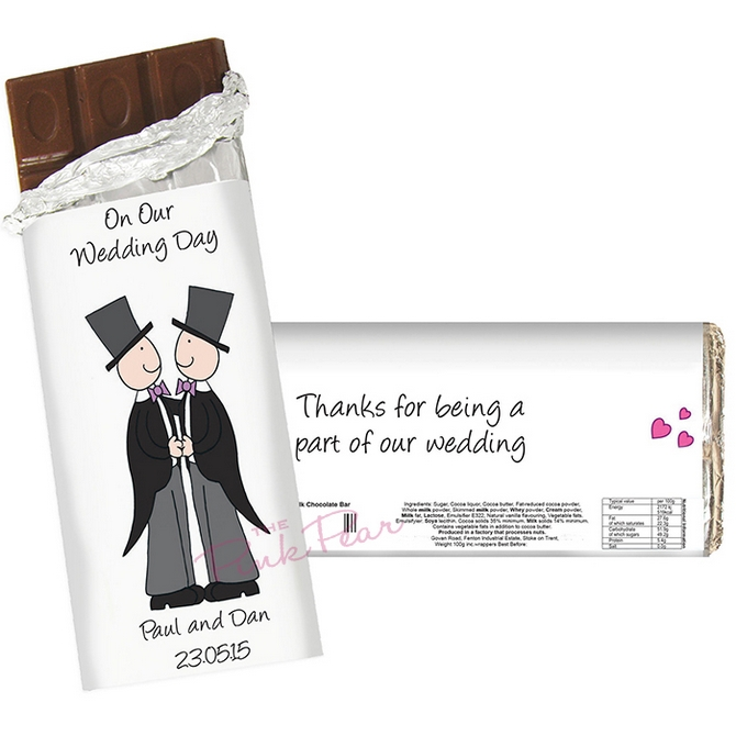 cartoon wedding chocolate bar - mr & mr