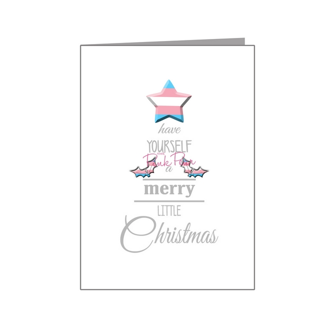 transgender merry little christmas wording tree card