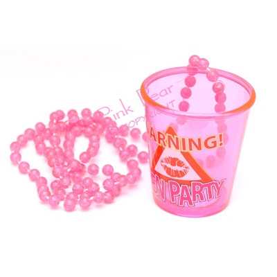 warning shot glass on bead necklace