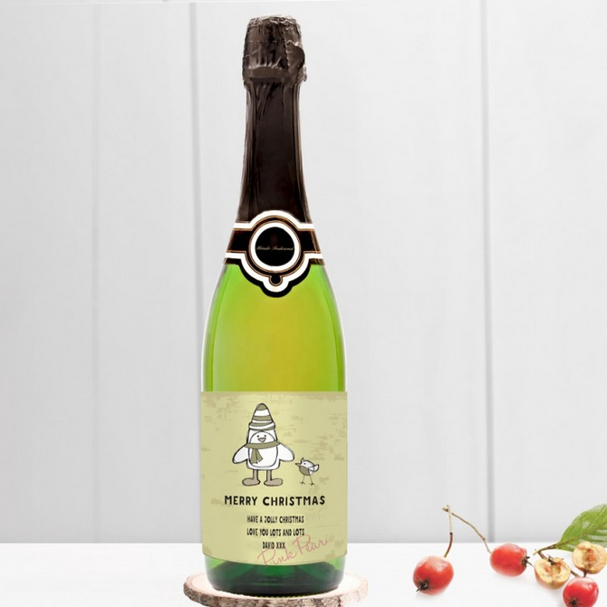personalised christmas cava - cartoon penguin & robin
