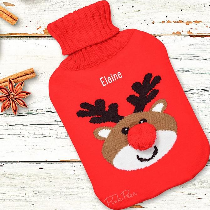 personalised reindeer hot water bottle