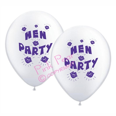 hen party balloons - white with purple design