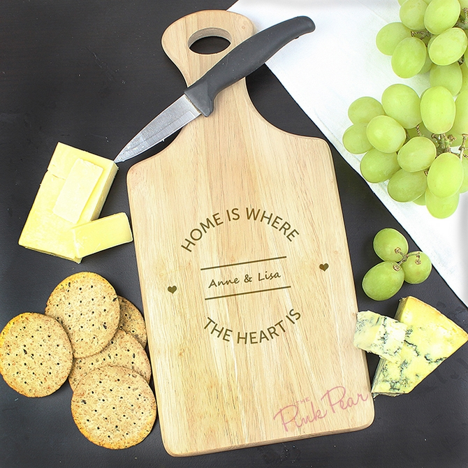 Personalised Home is Where... Large Paddle Chopping Board