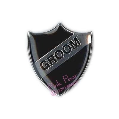 black stag party retro enamel school badge - groom