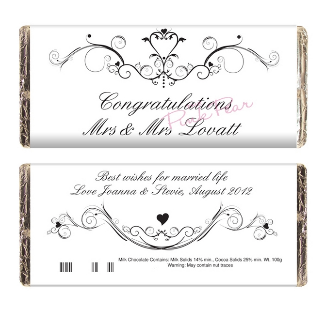 personalised ornate swirl milk chocolate bar - mrs & mrs