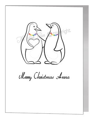 lesbian penguins giving heart - pride xmas