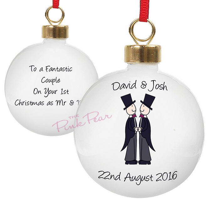 personalised wedding bauble - mr & mr
