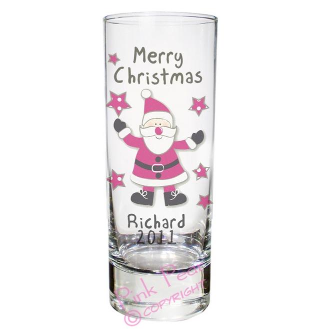 personalised spotty Santa shot glass