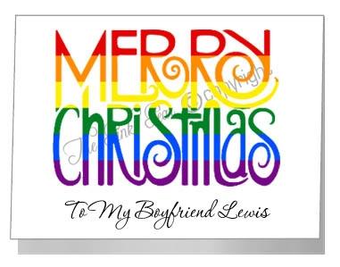rainbow merry christmas wording - pride xmas
