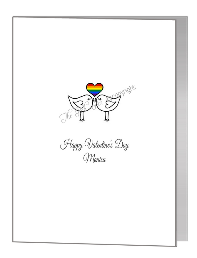 valentine card - lovebirds with rainbow heart