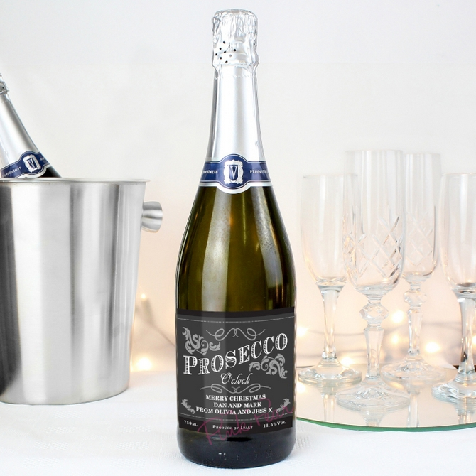 personalised 'prosecco o'clock' bottle of prosecco - Christmas