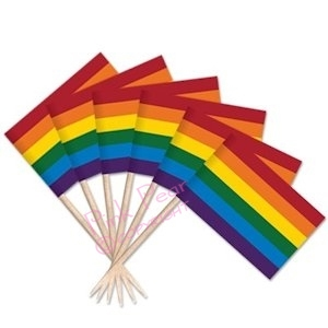 12 rainbow cocktail stick flags