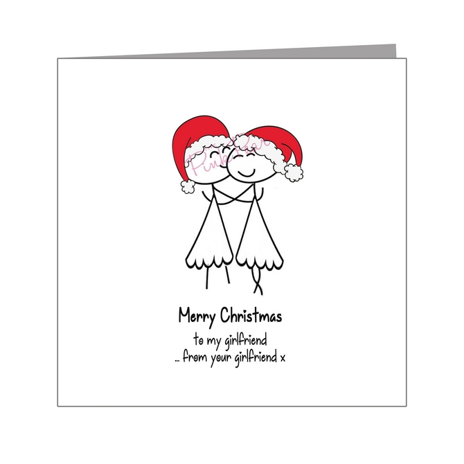 females in santa hats kissing - pride xmas