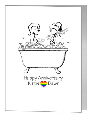 lesbian anniversary card - females in bubble bath