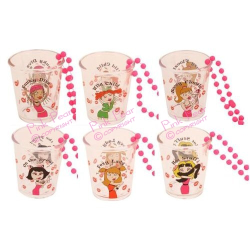fun hen night character shot glasses