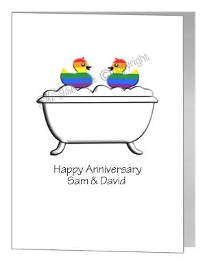 gay anniversary card - rubber ducks