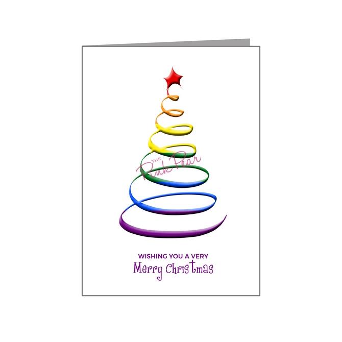 rainbow swirl christmas tree - pride xmas
