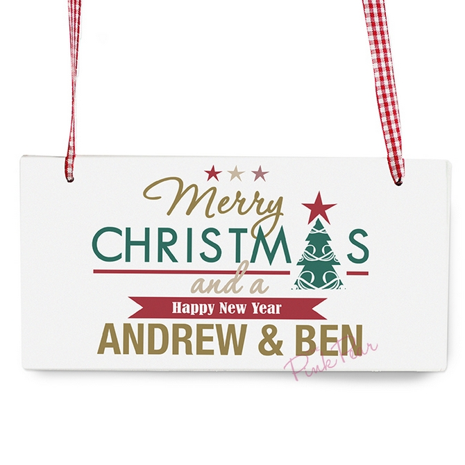 Personalised Merry Christmas And A Happy New Year Wooden Sign