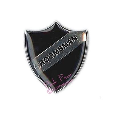 black stag party retro enamel school badge - groomsman