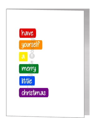 rainbow block text merry little christmas - pride xmas