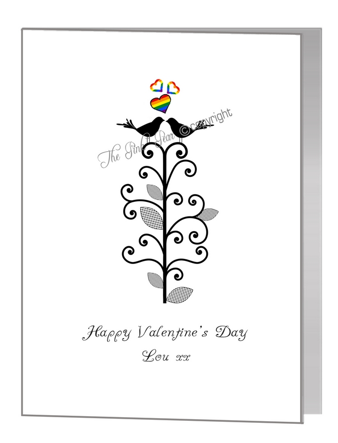 valentine card - silhouette lovebirds in tree