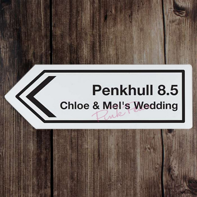 personalised road arrow sign