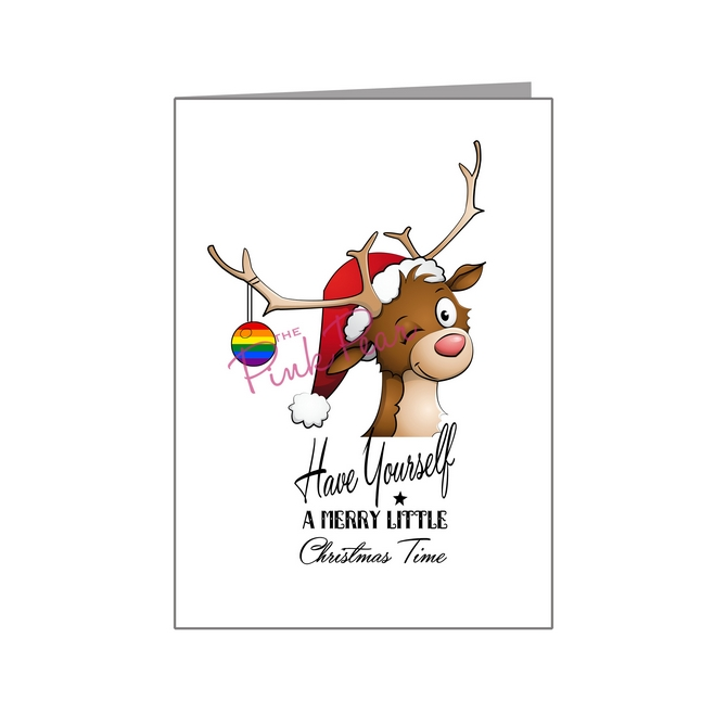 winking reindeer with rainbow bauble - pride xmas