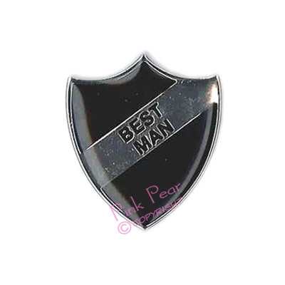 black stag party retro enamel school badge - best man