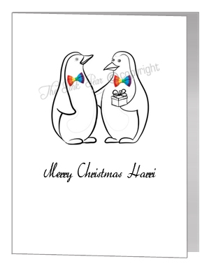 gay penguins with present - pride xmas