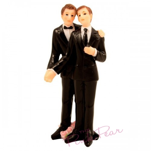 grooms cake topper - (black suits)