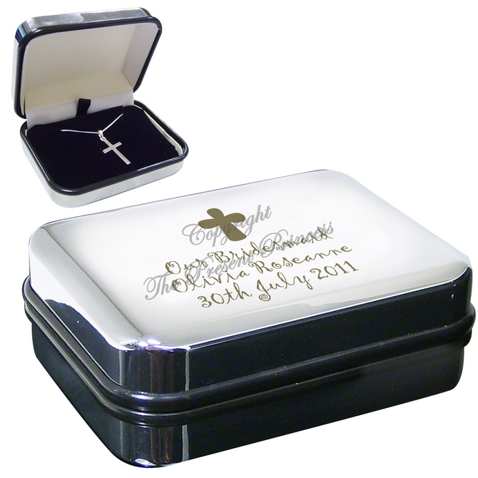 Personalised Cross Motif Box With Silver Cross Necklace