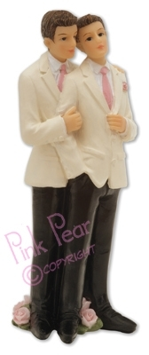 groom cake topper - gay couple (white jackets)