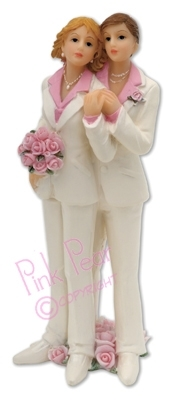 brides cake topper - lesbian couple (white suits)