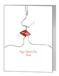 valentine card - female kiss outline