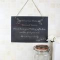 personalised wedding flowers hanging slate sign