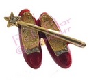 red ruby slippers brooch with wand