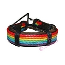 rainbow leather wristlet