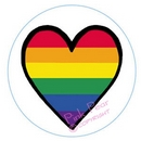super size rainbow heart button badge