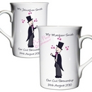 cartoon wedding mug set - mr & mr