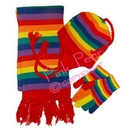rainbow hat, gloves and scarf set