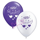 hen party balloons - purple & white