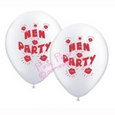hen party balloons - white with red design