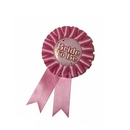 bride to be hen night pink rosette badge