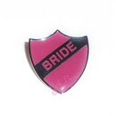 pink hen party retro enamel school badge - bride