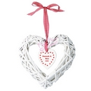 wooden wicker heart with inner hanging heart design