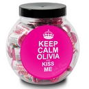 keep calm round pink sweet jar