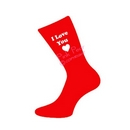 I love you heart design red valentine socks