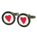 red heart round cufflinks