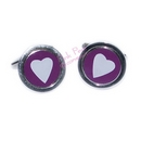 purple heart round cufflinks